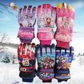 Nueva Marca 3-12años Invierno Kid Impermeable Ciclismo Esquí Guantes de Snowboard Niños Niña Niño de Dibujos Animados A Prueba de Viento Respirable Dedo Guante