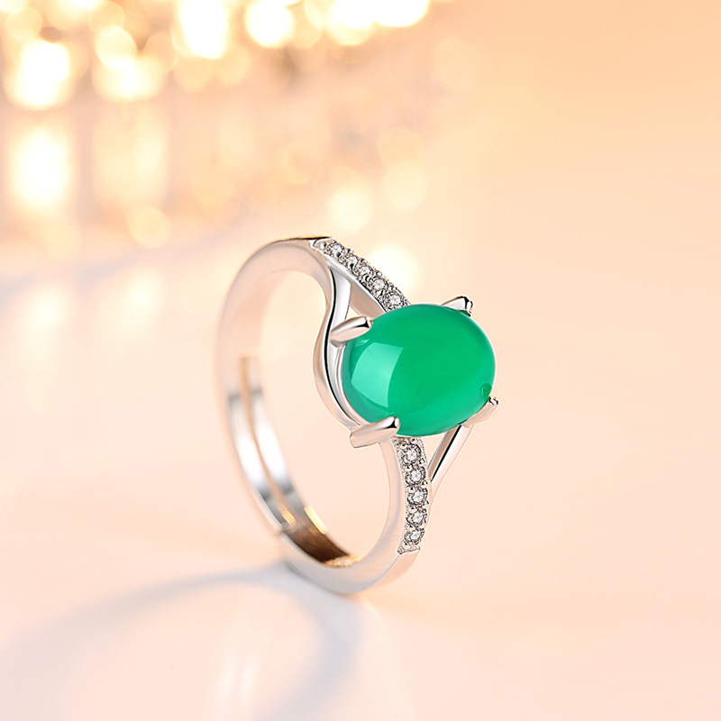 GB Red Gem Green Gem Open Ring S925 Silver Jewelry Inlaid Gem stone Chalcedony Crystal Live Open Ring Female Wholesale in Engagement Rings from Jewelry Accessories