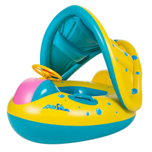 Kyncilor Swimming Ring Safely Inflatable Increased Thickness Baby with Horn Sound Adjustable Sunshade Seat Yacht