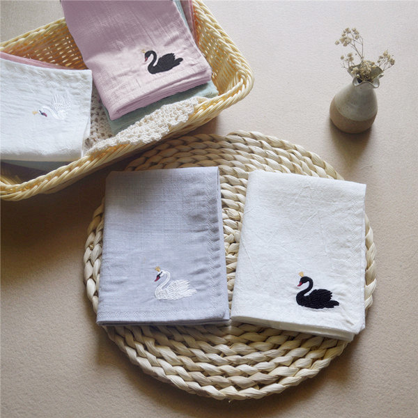 Swan, Feelings, Lady Student Silk Handkerchiefs Embroidered Flowers On The Small Pure And Fresh And A Birthday Present