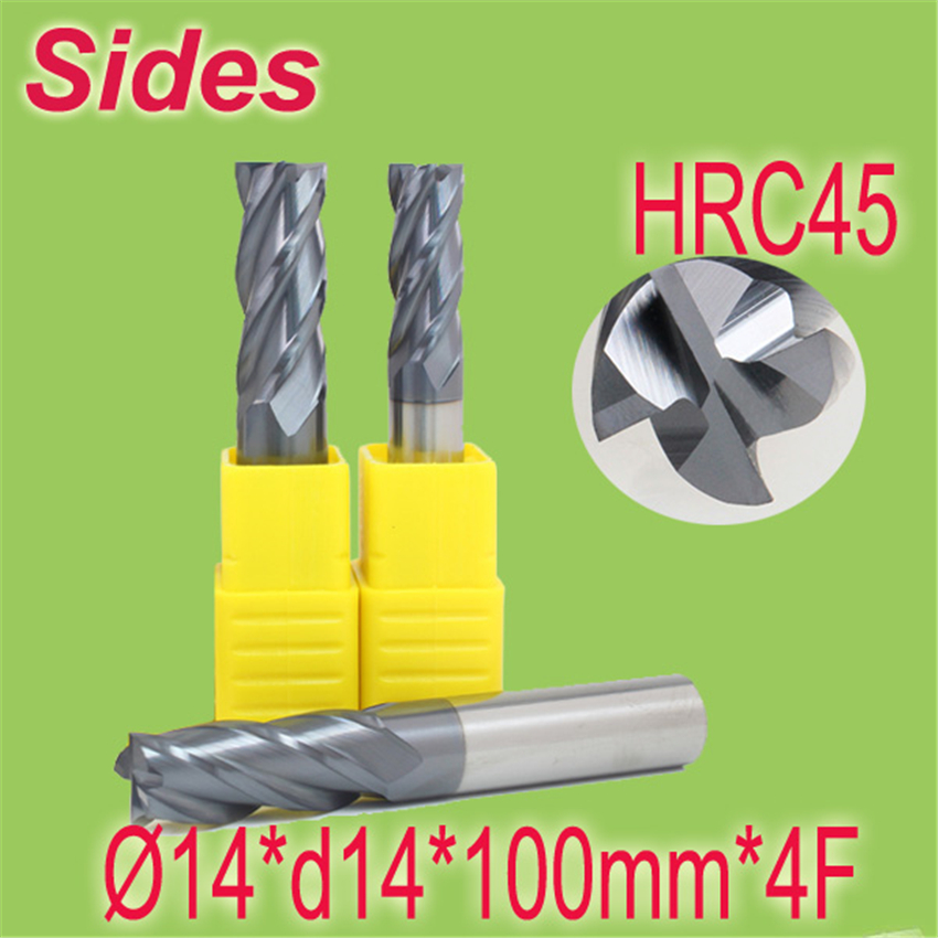 Free Shipping  14*d14*100mm*4F  HRC45  Tungsten Carbide Square End Mill 4F Flat Spiral Flute Endmill Cutter 4 14 791377