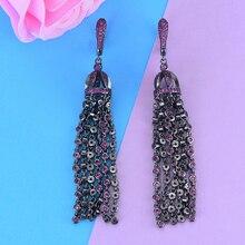 Godki luxury long tassels statement dangle earrings 트렌디 한 핫 핑크 큐빅 지르콘 크리스탈 cz 드롭 귀걸이 여성용 결혼식 2018