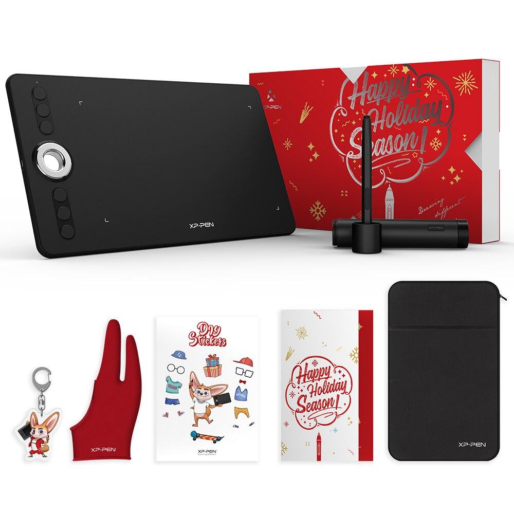 XP-Stylo Déco 02 tablette de dessin De Noël paquet cadeau tablette graphique avec Batterie-livraison Passive Stylus et touches de raccourci