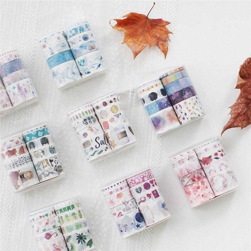 Kawaii Cartoon Masking Tape Set Gift Retro Colored DIY Hand Account Decoration Washi Tape Cute Adhesive Tape Art Supplies 024057