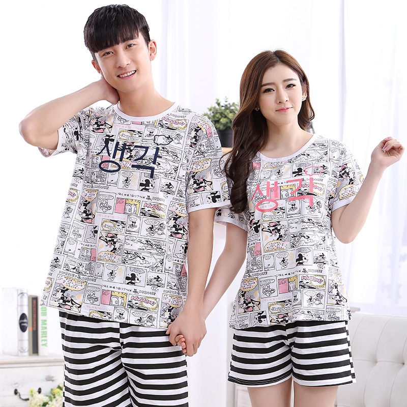 Couples Sleepwear Women Pajamas Cartoon Pajama Sets Cotton Pijama Hombre Masculino Pyjamas Men's Pajamas Striped Lounge Shorts