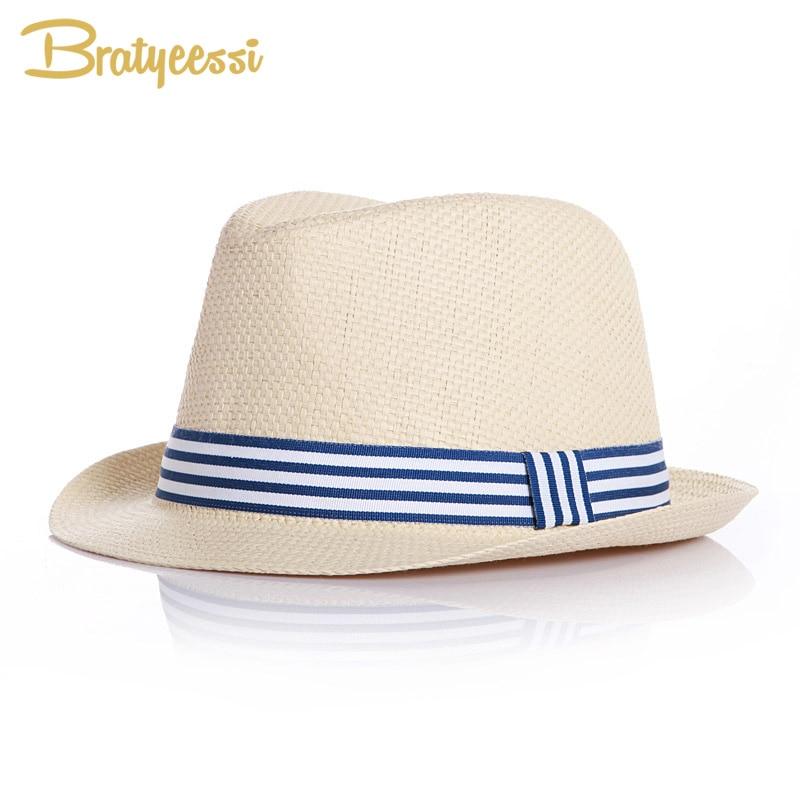Chapeau pour bébés, chapeau d'été à la mode, brève paille pour enfants, chapeau de Jazz, pour garçons et filles, accessoires bleu/rose
