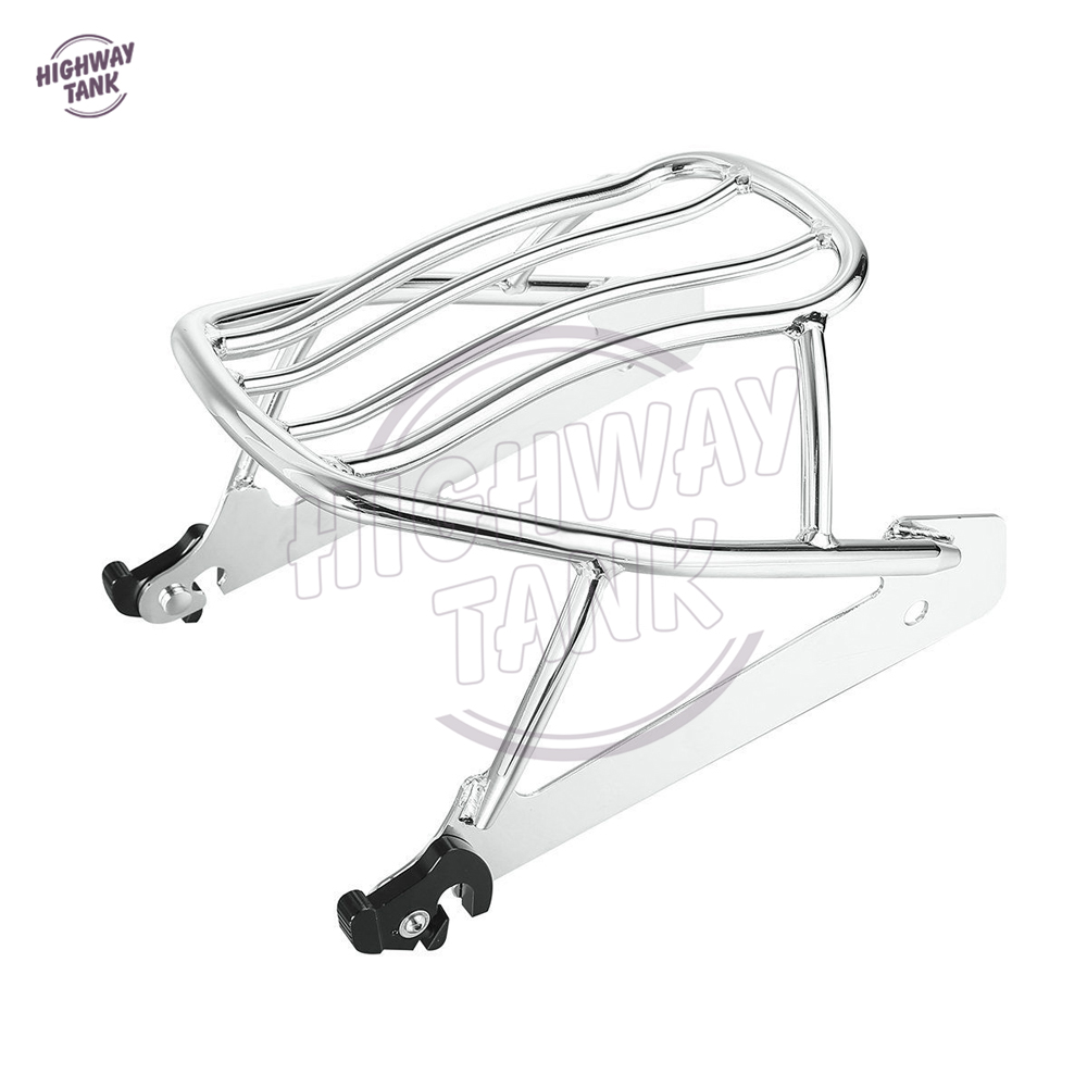 Motorcycle Chrome Solo Luggage Rack Case for Harley Dyna Street Bob FXDB Super Glide FXD Low Rider partol black car roof rack cross bars roof luggage carrier cargo boxes bike rack 45kg 100lbs for honda pilot 2013 2014 2015