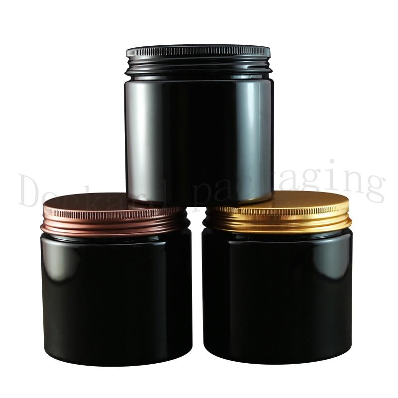 20pcs 200g Empty Amber Cream Cosmetic Jar Black PET Conatiner Aluminum Lid Plastic Lid Heavy Wall