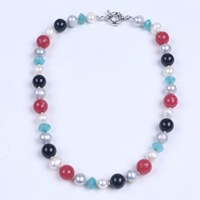 Potato Shape Real Pearl Necklace With Big Black Gagte Multi Color Soapstone Women Choker Necklace As