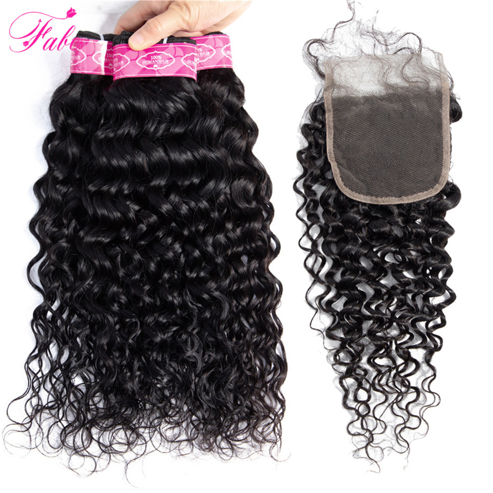 FABC Water Wave Bundles With Closure Peruvian Human Hair Weave Bundles with Closure Remy Hair Bundles