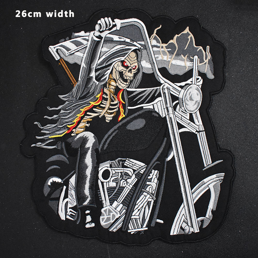 Dragon sword Iron On Patch Embroidered Applique Sewing Label punk biker Patches