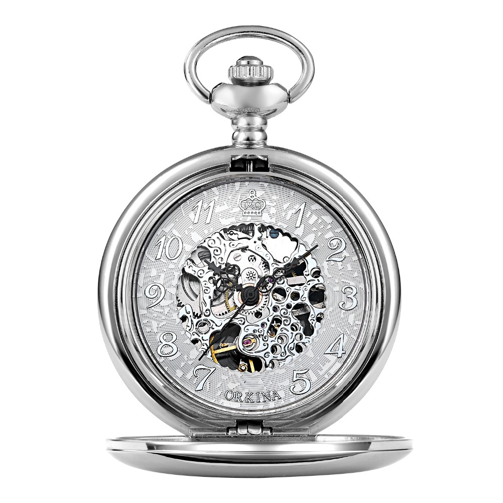 mens mechanical antique silver pocket watch men retro hand