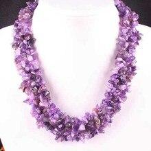 "Envío gratis joyería 4 X 8 MM Natural Beads Amethyst Chip del hilo de nilón Weave collar de 18 "" 1 unids E032"