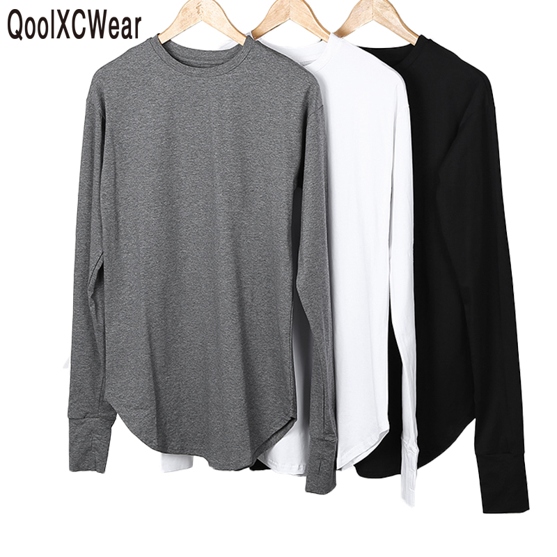 QoolXCWear New Thumb Hole Cuffs Long Sleeve Tyga Swag Style Man High Low Side Split Hip Hop T Shirt T-shirt Men Clothes
