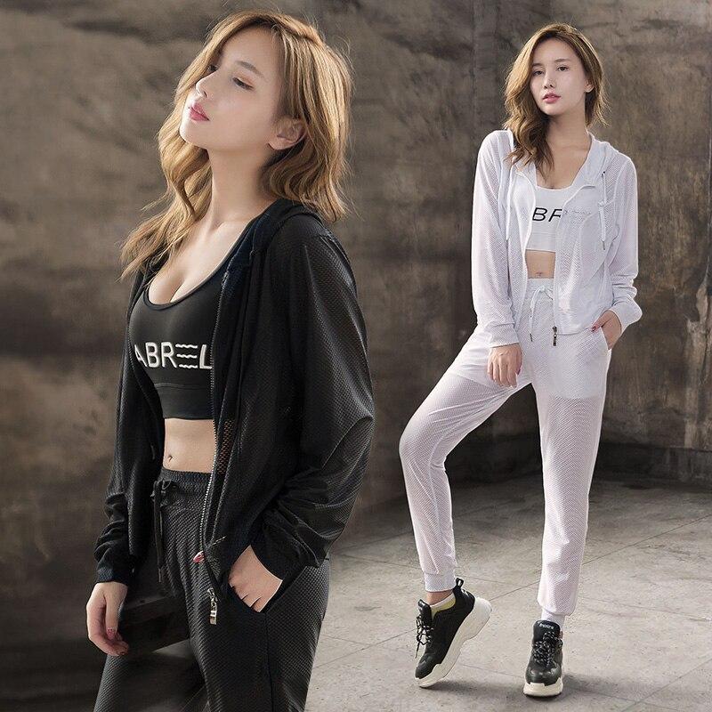 Mesh yoga sets women sport running quick dry clothing long sleeve coat bra pants womens summer fitness gym sets ropa deportiva