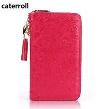 Купить с кэшбэком women purse real leather credit card holder wallet long genuine leather women wallets large capacity clutch bag
