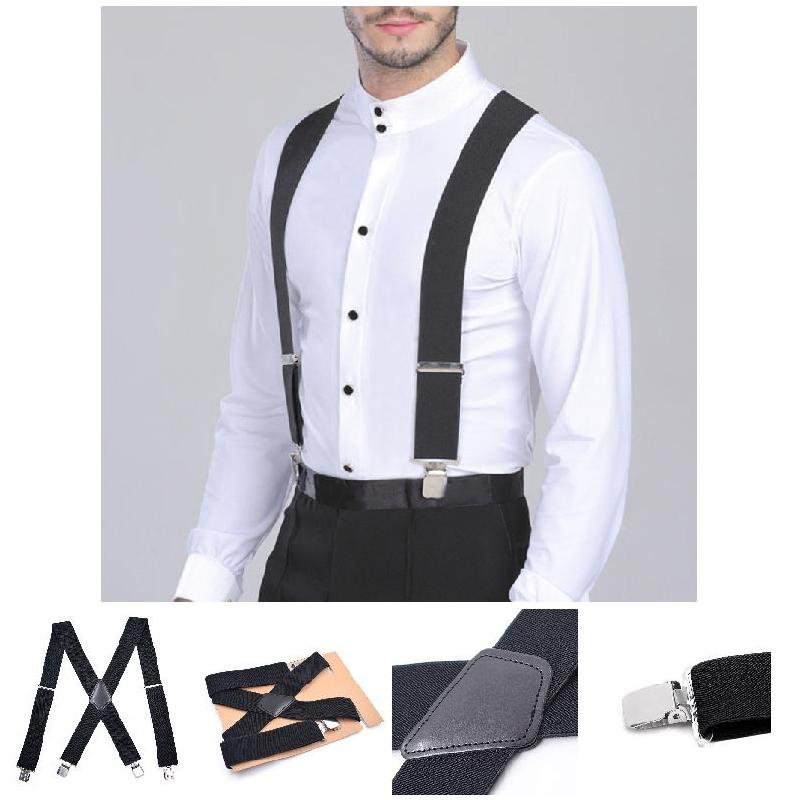 On Sales Hot 50mm Wide Elastic Adjustable Men Trouser Braces Suspenders X Shape With Strong Metal Clips HD88