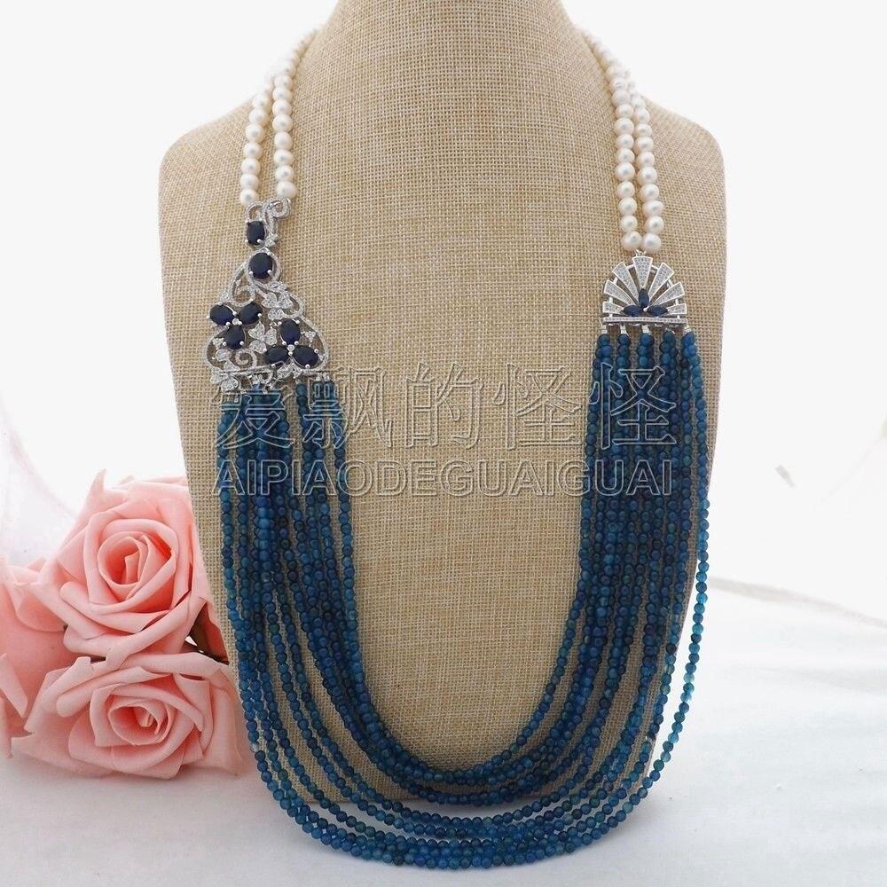 N062303 31 White Pearl Blue Necklace CZ Pendant