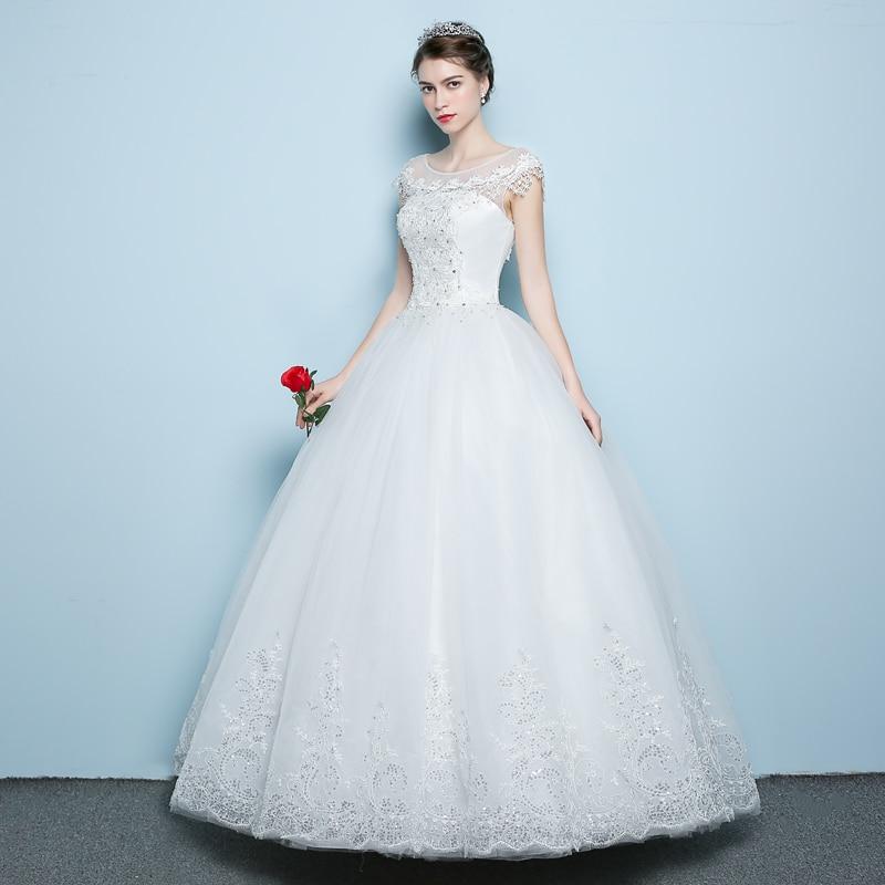 2018 Bollfärg Bröllopsklänning Blond Kroppspärlor Kortärmad - Bröllopsklänningar - Foto 5