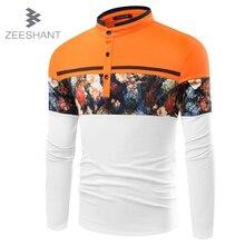 ZEESHANT Мужская Цветочный Печати Polo Мужчины С Длинным Рукавом Slim Fit Рубашки для Мужчин Camisa Polo in Men's Polo Shirts