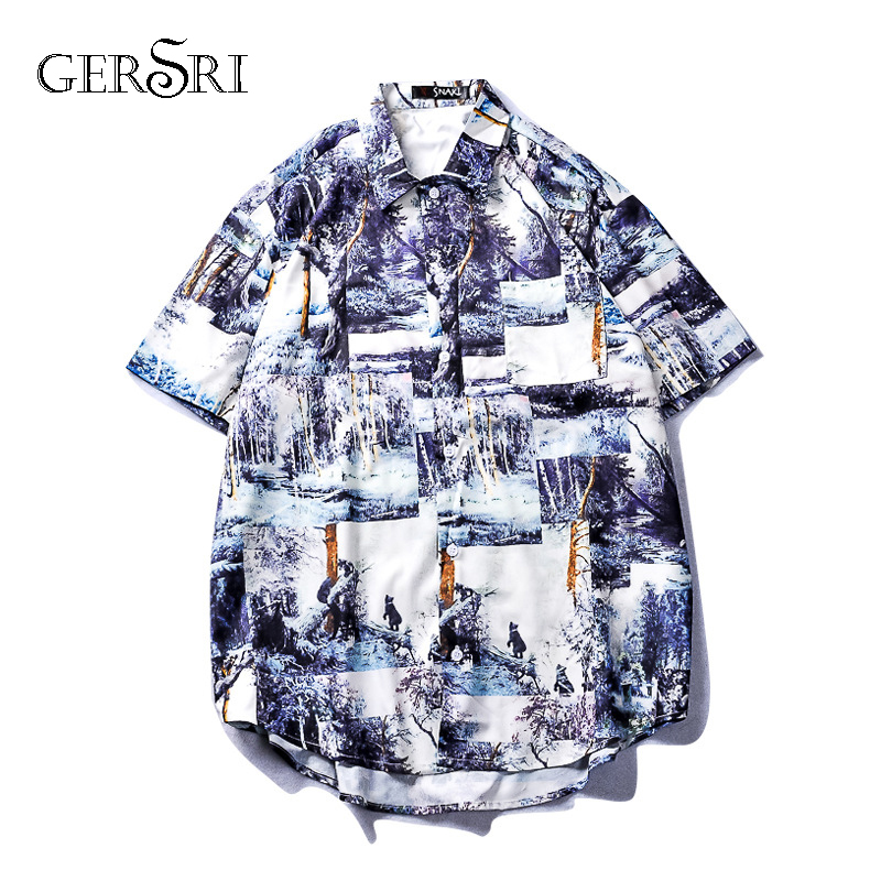 Gersri Printing Fashion Men Kimono Shirt New Japan Style Thin Coat Outerwear Casual Loose Short Sleeve Shirts Plus Size