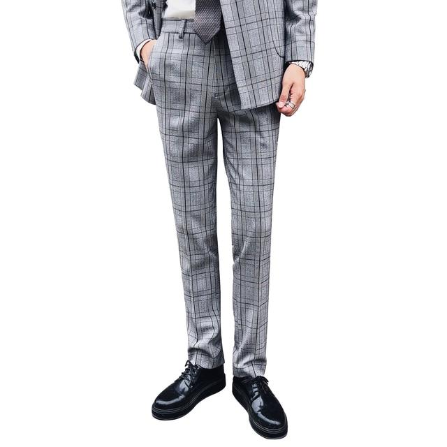 Fall Winter Men's Plaid Striped Suit Pants Gray Slim Elegant High Unique Men's Patterned Dress Pants
