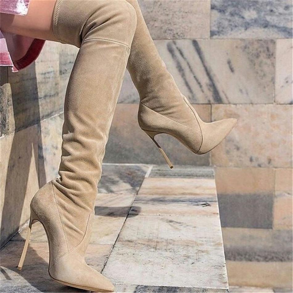 Haute Bottes Black Heel Élastique Pour Genou Talons Piste Cuisse High Hiver Heel beige grey Femmes Med Heel Botas Luchfive Abricot Style Le Sur Flat Mujer 2018 Noir FUcqwPz