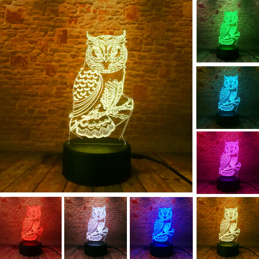 New 3D Owl LED Optical illusion Bulbing Table Lamp Night Light Home Bedroom Decor Child Kids Baby Sleeping Xmas Festival Gifts free shipping 1piece new arrive marvel anti hero deadpool figure light handmade 3d bulbing illusion lamp led mood light for kid