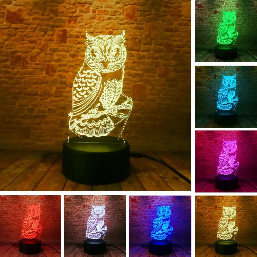 New 3D Owl LED Optical illusion Bulbing Table Lamp Night Light Home Bedroom Decor Child Kids Baby Sleeping Xmas Festival Gifts жен крупногабаритные серьги кольца крупногабаритные золотой серьги назначение повседневные