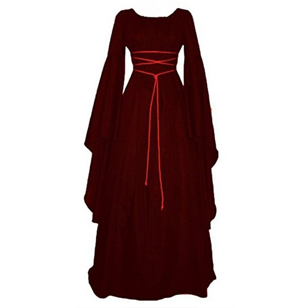 Medieval Vintage Dress For Women Lady Girls Middle Ages Renaissance Gown Retro Gothic Long Sleeve Halloween Dance Party Dress