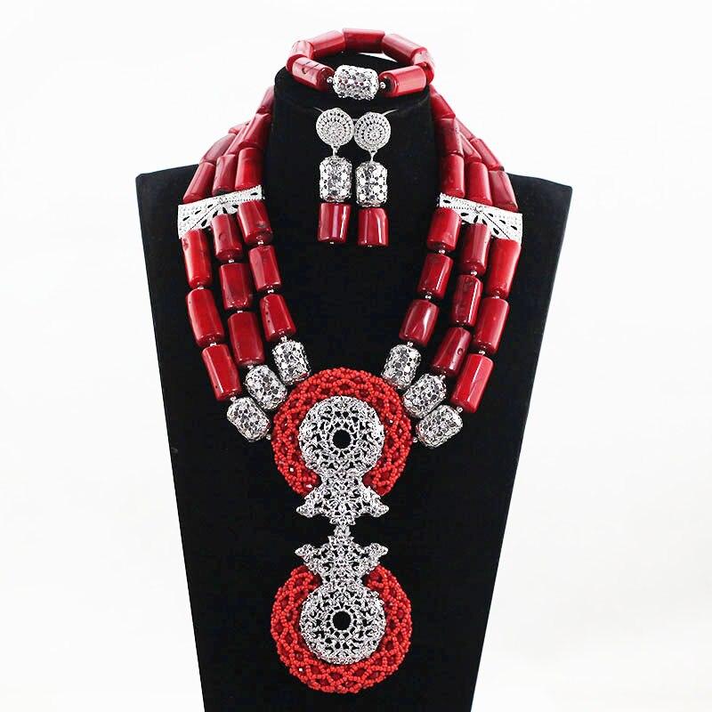 Corail naturel de luxe vin rouge perles de corail africain ensembles de bijoux de mariage rouge et argent femmes Costume pendentif collier ensemble ABH531