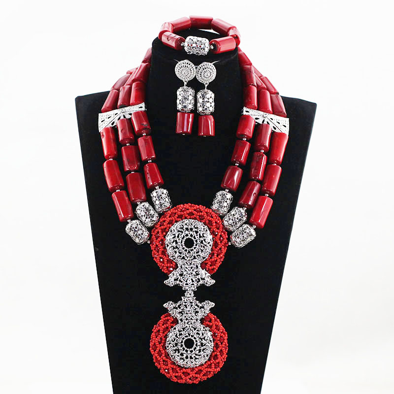 Natural Coral Luxury Wine Red African Coral Beads Wedding Jewelry Sets Red and Silver Women Costume Pendant Necklace Set ABH531 7 пряди red coral
