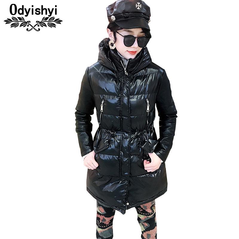 Manteau En Brillant Taille Capuchon À Mince Femmes 2019 Noir Mode Vestes Outwear Coton Grande Chaud D'hiver Femelle Hiver Veste Black Parka Hs111 wv7qSS