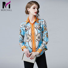 Merchall Runway Designer Plus size Blouses 2019 Spring Summer Womens Long Sleeve Vintage Floral Print Shirt Fashion Tops