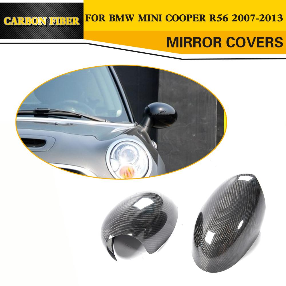Car-Styling Carbon Fiber Rearview Mirror Covers Caps Trim for BMW Mini Cooper R56 2007-2013