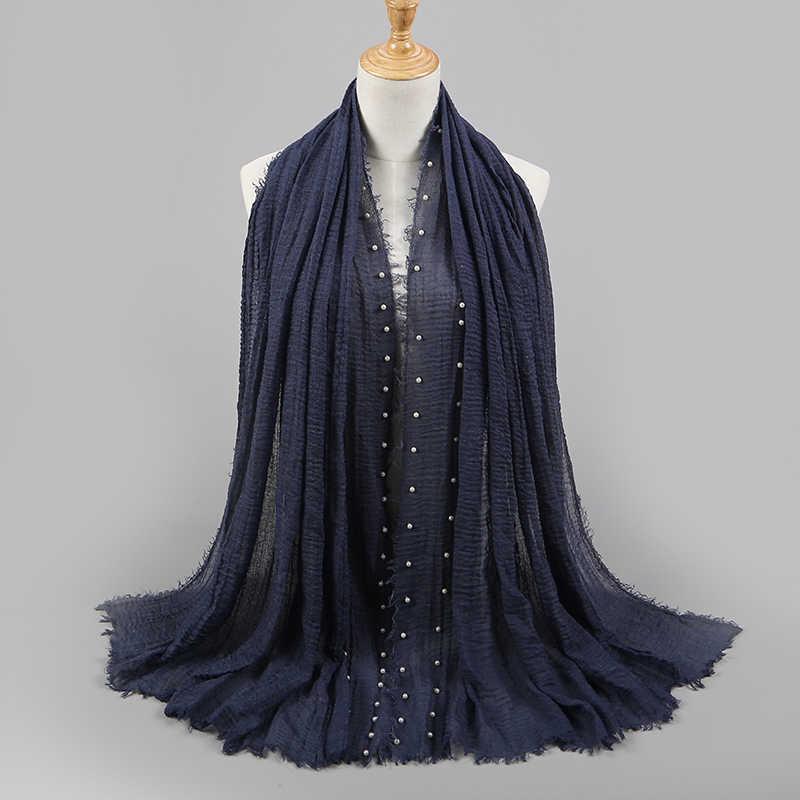 Nouvelles conceptions coton écharpe perles bulle perle rides châles hijab drapé couture frange froissé foulards musulmans/écharpe 55 couleur