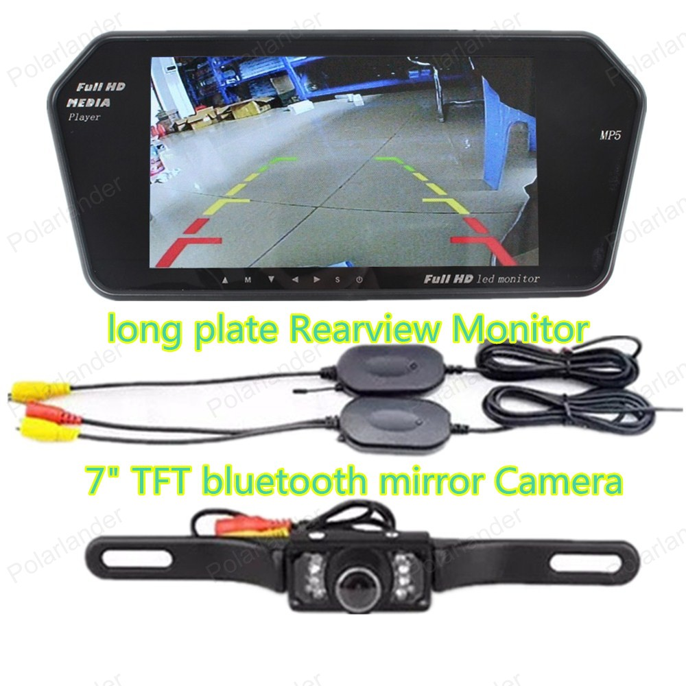 camera rearviwe with wireless 7 Inch TFT bluetooth mirror Car Rear View Monitor ,free shipping auto backup rear licence plate rearview camera with 7 inch bluetooth mp5 tft display monitor mirror usd fm slot free shipping