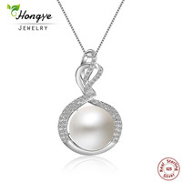 Hongye 2018 New Fashion Women Spiral Circle Design 925 Sterling Silver with Freshwater Pearl Pendant Necklace Wedding Jewelry
