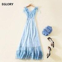 Bow Tie Shoulder Elegant Women Blue Long Dresses for Wedding Party Ladies V Neck Ruffles Floral Maxi Dress With Belts Female