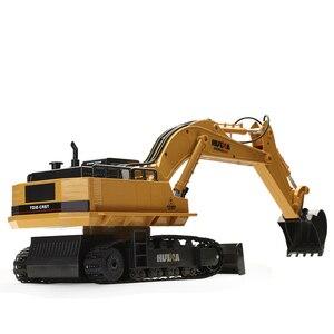 Image 3 - Huina 510 אלחוטי שלט רחוק סגסוגת חופר סימולציה ילדי טעינה חשמלי צעצוע כריית הנדסת רכב דגם