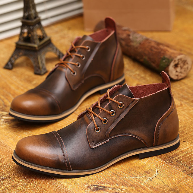 EUA 6-10 Moda Couro Real Lace Up Cap Toe Mens Sapatos Oxford Vestido Formal Inverno Ankle Boots