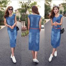 women summer style fashion denim dress round neck lady elegant slim cowboy sleeveless casual dress vestido vintage