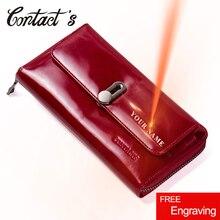 الاتصال رائجة البيع جلد طبيعي براثن المرأة محفظة نقود معدنية على شكل حقيبة يد غطاء جواز سفر طويل محافظ موضة محفظة حمل بطاقات