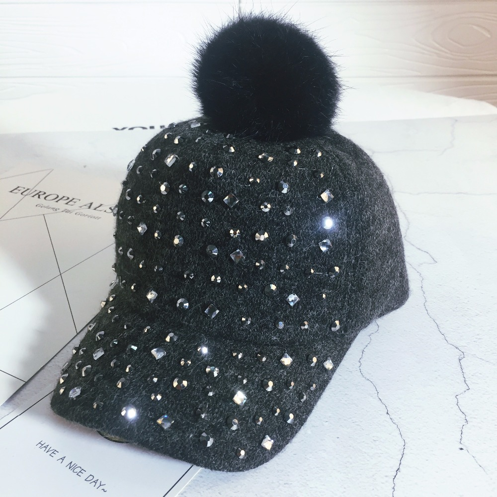 Rhinestone Crystal Felt Bone Snapback Hat Unisex Gorras Boys Girls Kids Baseball Cap Snap Backs With Pompoms For Autumn Winter