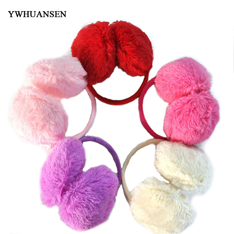 YWHUANSEN 1pcs/lot 15.5cm Winter Plush Women Earmuffs Pure 10 Colors Warmers Ear Muffs Hot-sale Orejeras Cache Oreille