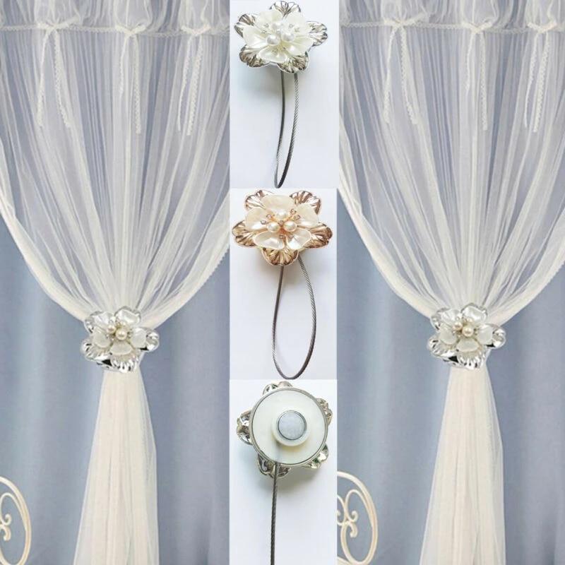 1pair of magnetic curtain tiebacks crystal tie backs buckle clips holdbacks home