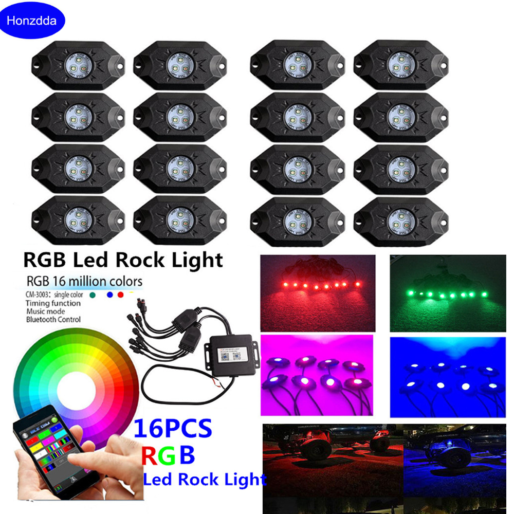 Honzdda 16 Pods RGB Led Rock Lights with Bluetooth App Control Timing Music Mode Multicolor Led Fog Light for Offroad Boat Truck vosicky 4 pods multicolor neon led light kit rgb led rock lights with bluetooth controller for timing music mode flashing