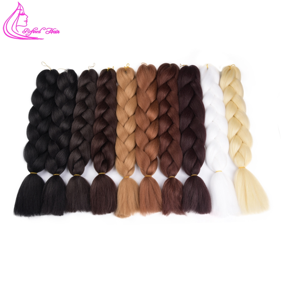 Hair Extensions & Wigs Hearty Refined Hair 24inch Jumbo Braid Ombre Kanekalon Braiding Hair Extensions Brown Blonde Synthetic Crochet Braids For Russian Women