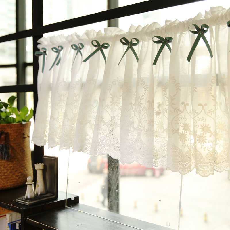 Rural Cotton Hollow Embroidery Bow Beautiful Coffee Curtain Short Kitchen Curtains For Living