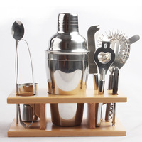 750ML Cocktail Shaker Set 9 Piece Stainless Steel Bartender Set with Bamboo Base Kitchen Accessories Cocktail Bar Tool Set